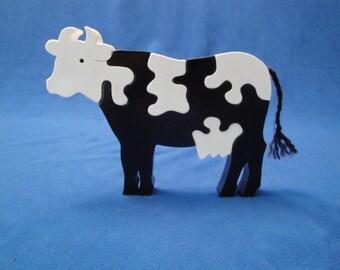 Five Piece Wooden Cow Puzzle