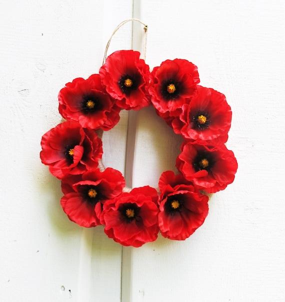 Red poppies wreath artificial flowers wreaths front door