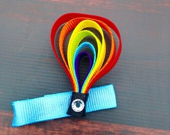 Rainbow Hot Air Balloon Ribbon Sculpture Bow, Hair bows for girls, balloon hair clip hair clips for girls, rainbow hair bow balloon hair bow