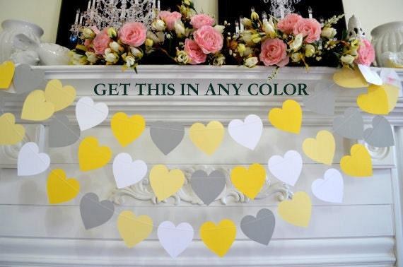 Grey Yellow Paper Heart Garland Bridal Shower Decor Wedding