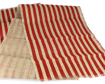 "Striped Burlap Table Runner (Approx. 14"" x 70"") Red and Tan/Natural Rustic home weddings decor, nautical theme (BS-Rxxx)"