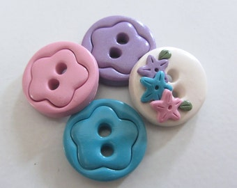 Trio of flowers ~ Set of 4 Buttons