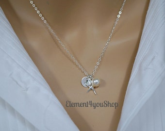 Bridesmaid initial necklace, Monogrammed hand stamped disc, Personalized gift, Destination  wedding jewelry, Sterling silver Starfish charm