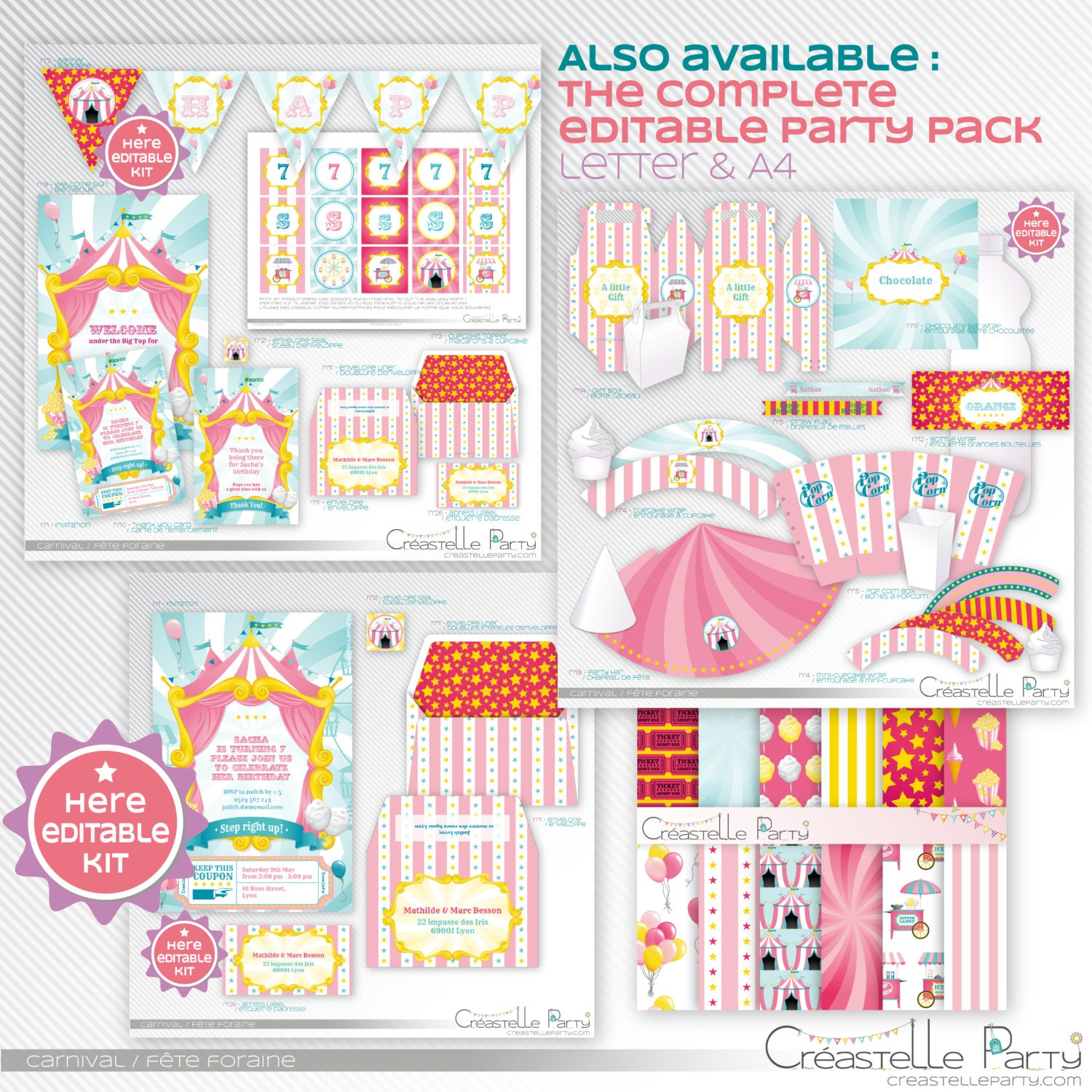 pink carnival circus baby shower printable invitation. Black Bedroom Furniture Sets. Home Design Ideas