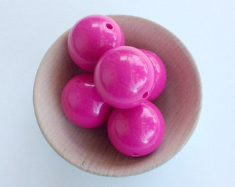 20mm Fuchsia Gumball Beads, 10 pcs, Acrylic Beads/ Bubblegum Beads/ Chunky Round Beads/ Solid Fuchsia Necklace Beads