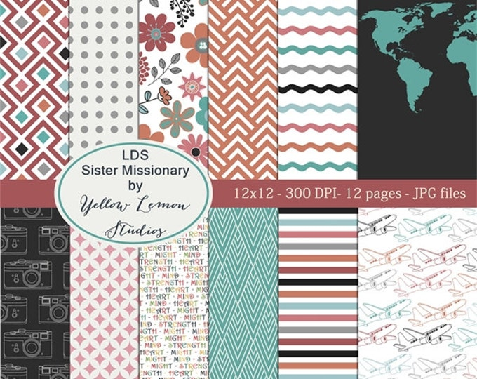 Instant download- LDS Sister missionary Retro style papers 12x12 Digital Paper Pack (digital only paper) mission, called to serve, flowers