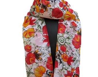 Floral scarf/ chiffon scarf/ multicolored scarf/ gift  scarf /  leaf print  scarf/ /  gift ideas.