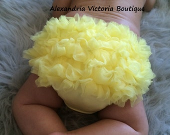 YELLOW BABY BLOOMER, chiffon ruffle diaper cover, photo prop, newborn ruffle bloomer-ready to ship!