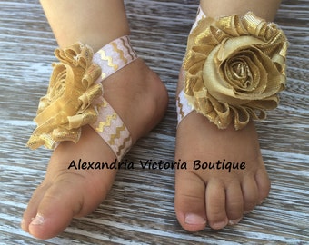 PINK and GOLD BAREFOOT Sandals, Baby Barefoot Sandals, Newborn Sandals, Baby Shoes, Gold Flower Sandals, Soft Pink and Gold Chevron Print.