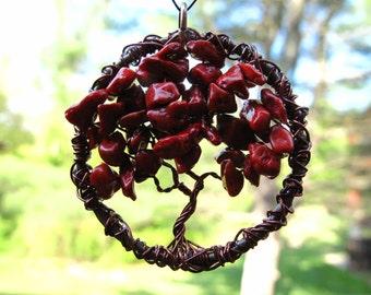 Red Coral Tree of Life, July Birthstone