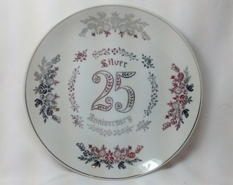 Vintage Napcoware National Potteries Co Silver 25 Anniversary Wedding Silver Trim Plate Dish Decorative Hanging Company Napco