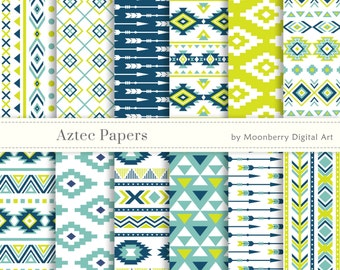 """Ethnic Digital Papers """"AZTEC DIGITAL PAPERS"""" Tribal Digital Papers.Arrows Digital Papers. Tribal Scrapbook. Invites. Commercial Use"""