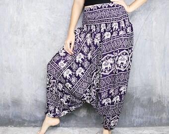 Harem Pants Womens / Boho Pants / Hippie Pants / Yoga Pants / Festival Clothing / Jumpsuit / Bohemian Trouser / Gypsy Baggy Pants HR11