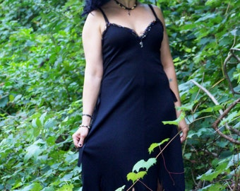 Black Tattered Fantasy Goth Witch Gown
