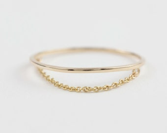 Chain ring, solid 14k gold,1mm gold wire ring with drape chain, simple gold ring, rose gold, white gold, gol-r104
