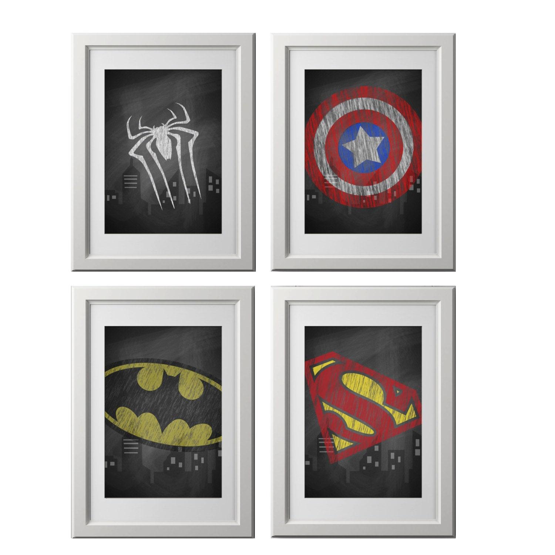 Printed superhero wall art prints super hero wall art for Superhero wall art