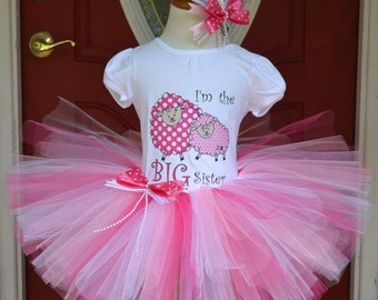 Big Sister Sheep Tutu Skirt and Printed Tee with Matching Hair Bow with Lambs for Baby Showers Birthdays, Pageants, Photos