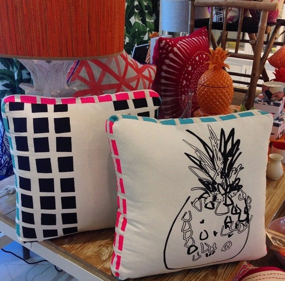 Pineapple Cushion, Pop Art, Double sided 50cm Box cushion with Monochrome Pop Art design screenprint from TROPPO Collection