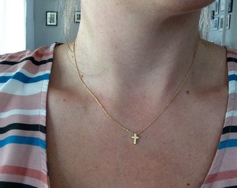 Hand made tiny cross necklace
