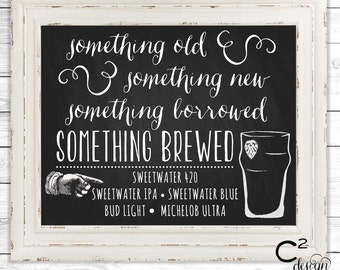 Something Brewed Printable Wedding Bar Sign