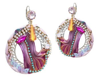 Silk Shibori pink and purple rhinestones-bijou earrings couture
