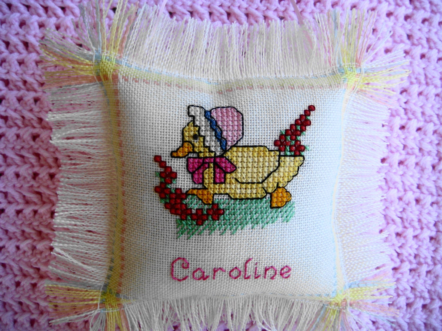 Personalized Baby Duck Cross Stitch Pillow Hand Stitched With