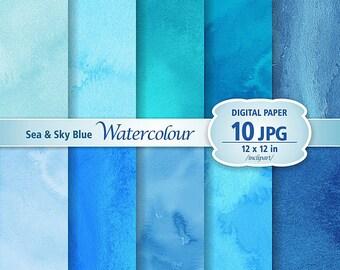 Sea & Sky Blue Watercolour Digital Paper Clip Art. Set of 10 JPG watercolor backgrounds / digital papers. Printable. Instant download.