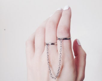 Minimalist Double Chain Ring | Gift Idea | Simple Jewelry