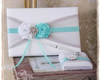 Aqua Blue and Gray Wedding Guest Book, Wedding Guest Book, Aqua Guest Book, Aqua Guest Book, Pen Holder, Guest Book Set, Wedding Decor