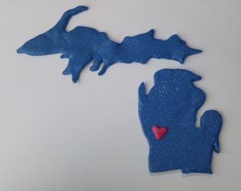 Michigan Love Blue Sculpey Premo Clay Magnet