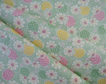 "Fat quarter of Moda Fresh Air by American Jane Patterns Sandy Klop Polka Dot Daisy in light green. Approx. 18"" x 22"" Printed In Japan"