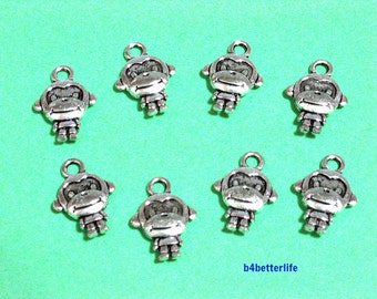 "Lot of 28pcs Antique Silver Tone ""Monkey"" Double Sided Metal Charms. #JL3868."