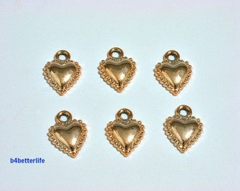 "Lot of 24pcs ""Valentine Heart Love"" Gold Color Plated Metal Charms. #SW2631."