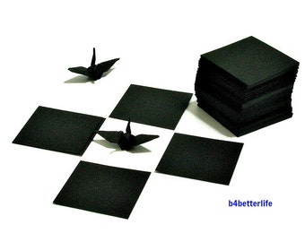 "220 Sheets Black Color 1-inch Origami Crane Paper Folding Kit. 1"" x 1"". (KR paper series)."