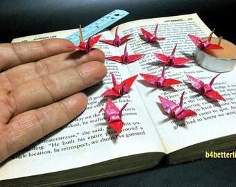 "100pcs Red Color 1.5"" Origami Cranes Hand-folded From 1.5""x1.5"" Square Paper. (TX paper series). #FC15-17."