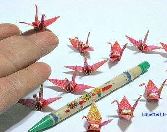 "100pcs Dark Orange Color 1.5"" Origami Cranes Hand-folded From 1.5""x1.5"" Square Paper. (TX paper series). #FC15-23."