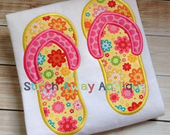 Summer Beach Flip Flops Machine Applique Design