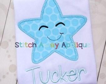 Boy Starfish Summer Machine Applique Design