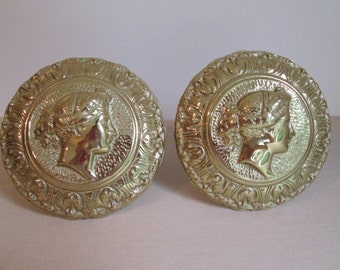 Vtg HUGE Tiebacks Pair Virginia Metal Crafters Classic Greek Cameo Drapery tie backs Solid Brass dated 1989