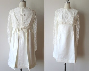 60's MOD Lorrie Deb Wedding dress Ivory Empire Waist Lace and pearl over top  size extra small
