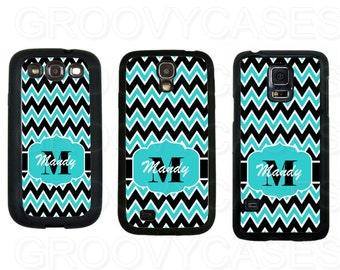 Personalized Samsung Galaxy S3 S4 S5 Case Rubber Blue Black White Chevron