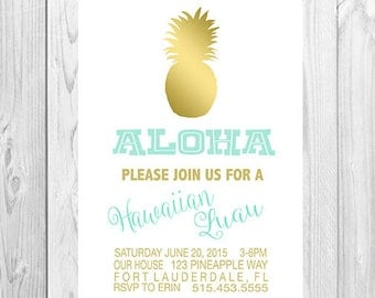 Luau Invitation-Printable-Hawaiian Luau-party-any age-DIGITAL FILE-PRINTABLE
