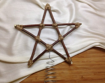 Christmas Tree Star Natural Wood and Twine / Handmade Natural Rustic Tree Star / Christmas Tree Topper Sticks Branches Primitive