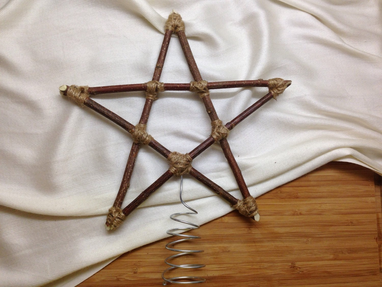 Christmas Tree Star Natural Wood And Twine Handmade Natural