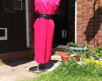 Pink 80s shirt dress UK size 8
