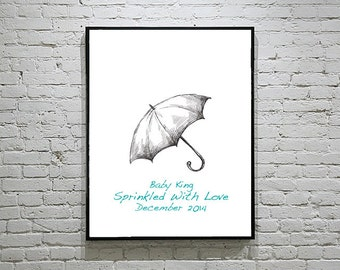 Baby Shower Umbrella Thumbprint Guest Book Fingerprint Alternative Raindrops Art Set 3