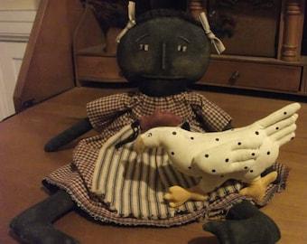 Primitive Folk Art Doll and Chicken