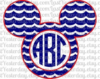 Waves Monogram Mickey Head DIGITAL DOWNLOAD svg dxf jpg png
