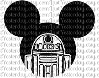 R2D2 Mickey Head DIGITAL DOWNLOAD svg dxf jpg png