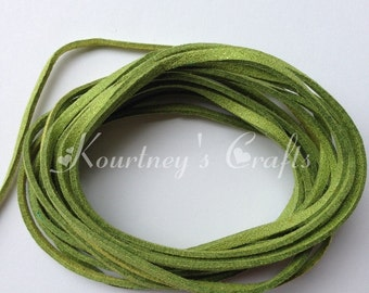 Olive Glitter Faux Suede Leather Cord Size 3mm 5yards/bundle